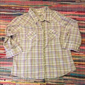 Old Navy lightweight plaid pearl snap button-down